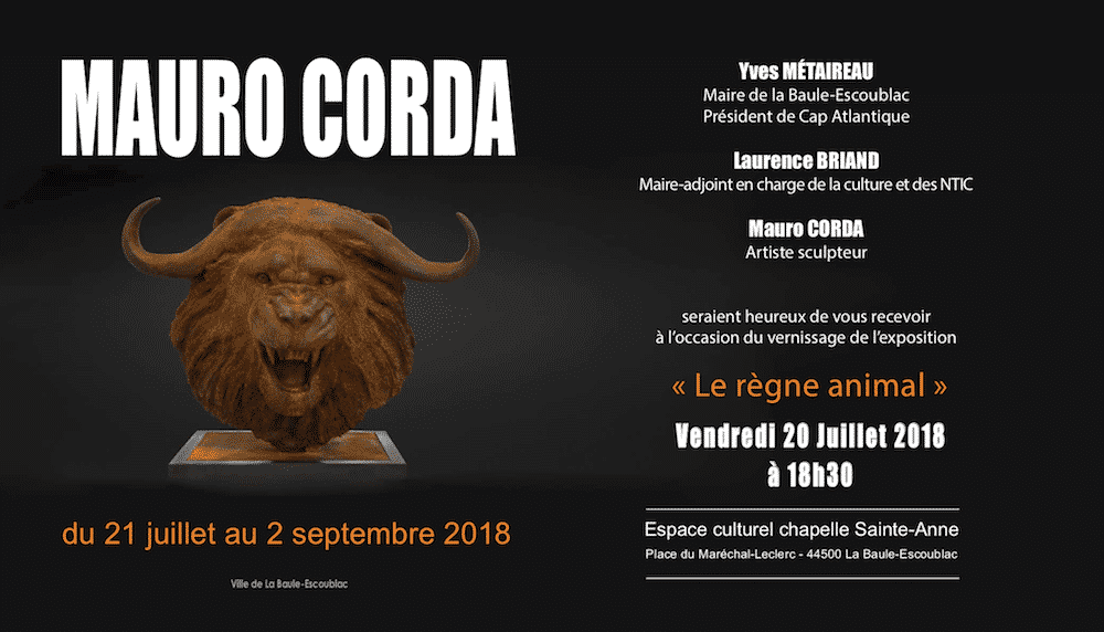 exposition mauro corda le renne animal sculture contemporaine la baule